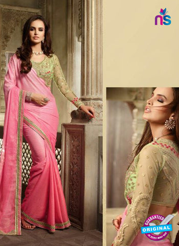 AZ 2107 Peach Chiffon Fancy Party Wear Saree