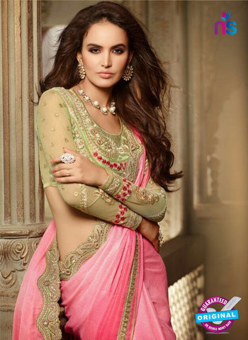 AZ 2107 Peach Chiffon Fancy Party Wear Saree - Sarees - NEW SHOP