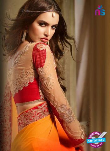 AZ 2108 Orange and Red Georgette Fancy Party Wear Saree - Sarees - NEW SHOP