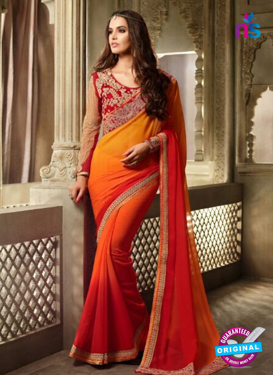 AZ 2108 Orange and Red Georgette Fancy Party Wear Saree