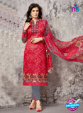 SC 14032 Red and Grey Cotton Satin Latest Plazo Straight Suit