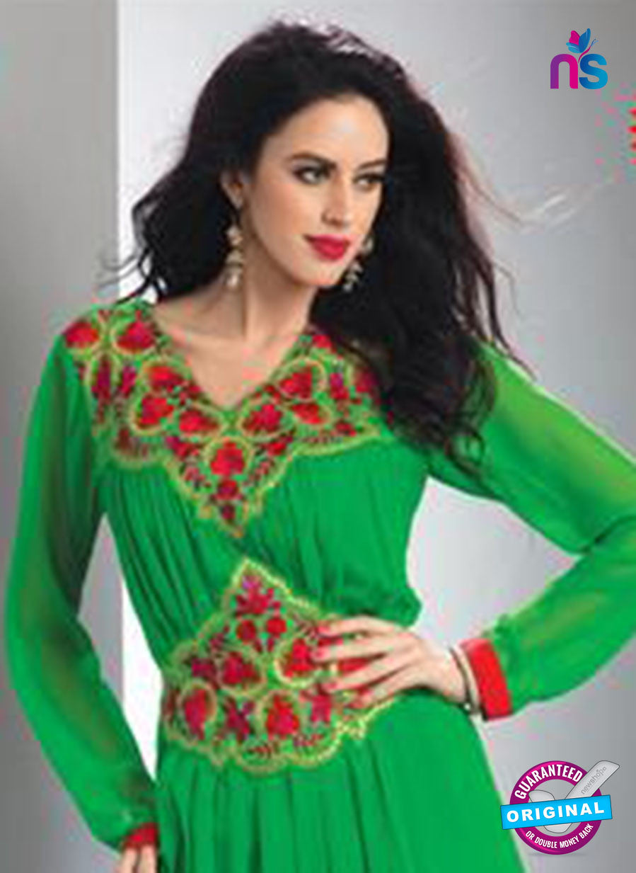 NS12081 Green and Red Georgette Kurti