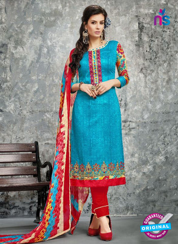 SC 14030 Sky Blue and Red Cotton Satin Latest Straight Plazo Suit