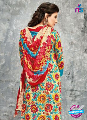 SC 14030 Sky Blue and Red Cotton Satin Latest Straight Plazo Suit Online
