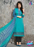 SC 14034 Sky Blue Cotton Satin Latest Straight Plazo Suit