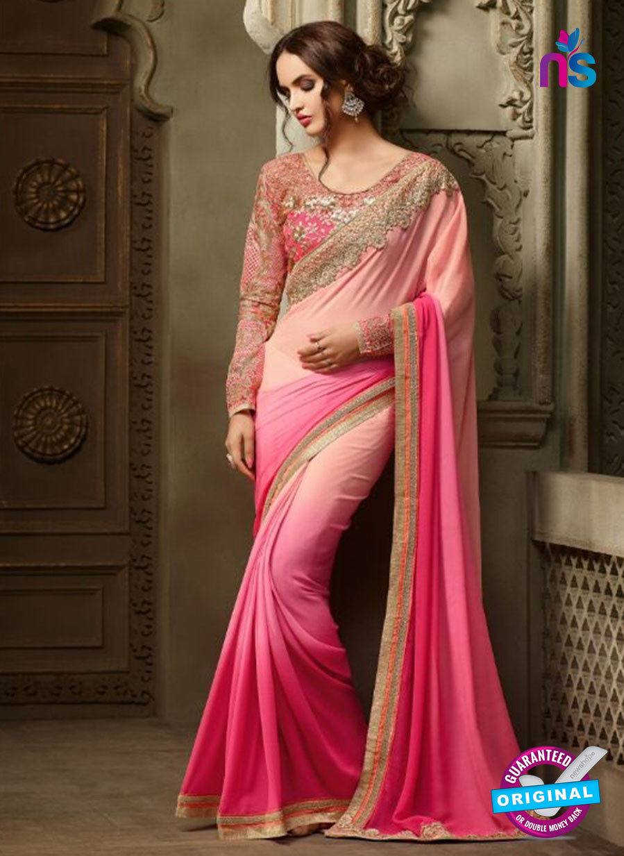 AZ 2111 Peach and Pink Georgette Fancy Party Wear Saree