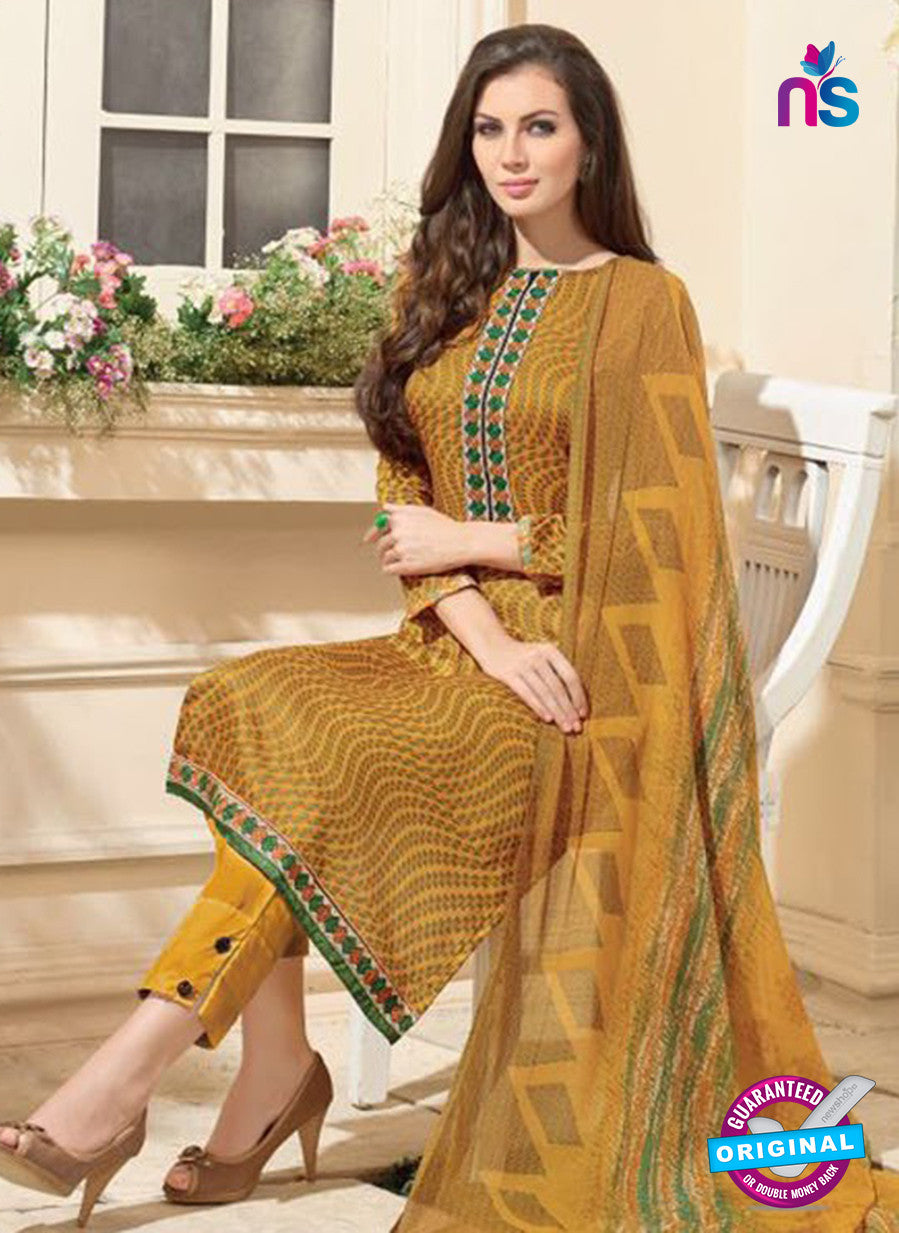 NS 12484 Yellow Embroidered Glace Cotton Party Wear Straight Suit