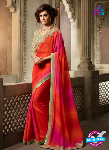 AZ 2112 Orange and Pink Georgette Fancy Party Wear Saree