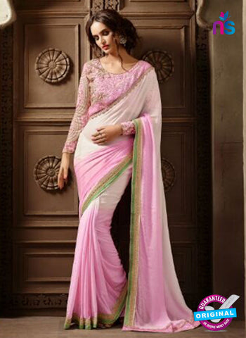AZ 2113 White and Pink Georgette Fancy Party Wear Saree