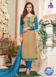 NS 12479 Brown and Blue Embroidered Glace Cotton Straight Suit