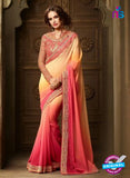 AZ 2115 Peach and Yellow Georgette Fancy Party Wear Saree