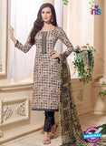 NS 12478 Beige and Black Embroidered Glace Cotton Straight Suit