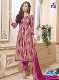 NS 12482 Beige and Magenta Embroidered Glace Cotton Straight Suit