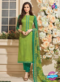 NS 12481 Parrot Green and Green Embroidered Glace Cotton Straight Suit