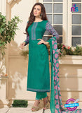 NS 12483 Green and Pink Embroidered Glace Cotton Straight Suit