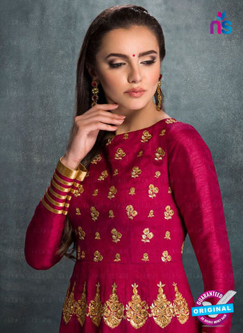 AZ 2222 Magenta and Beige Embroidered Banglori Silk Fancy Gawn