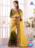 SC 13666 Yellow and Green Exclusive Designer Fancy Ethnic Party Wear Saree