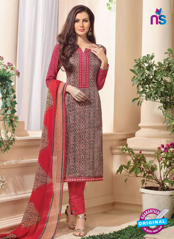 NS 12480 Multicolor and Red Embroidered Glace Cotton Straight Suit