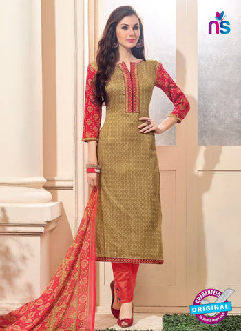 NS 12477 Brown and Red Embroidered Glace Cotton Straight Suit