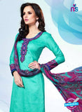 NS11175 Sea Green and Multicolor Party Wear Cotton Satin Jacquard Straight Suit