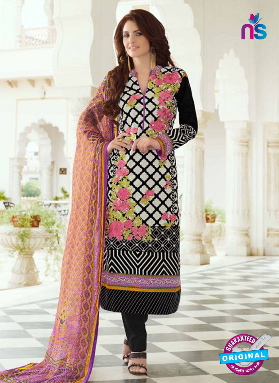 SC 13391 Black and Multicolor Embroiderd Lawn Cotton Designer  Suit