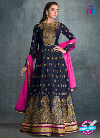 AZ 2223 Blue Embroidered Faux Georgette Fancy Gown