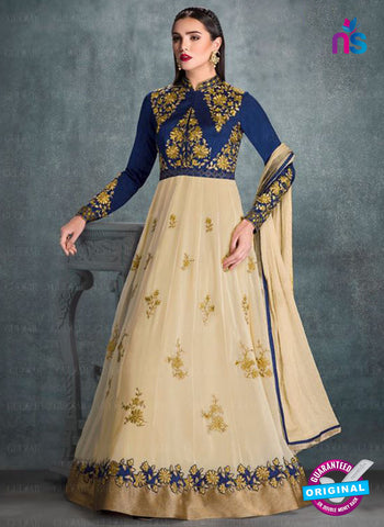 AZ 2224 Blue and Beige Embroidered Faux Georgette Fancy Anarkali Suit