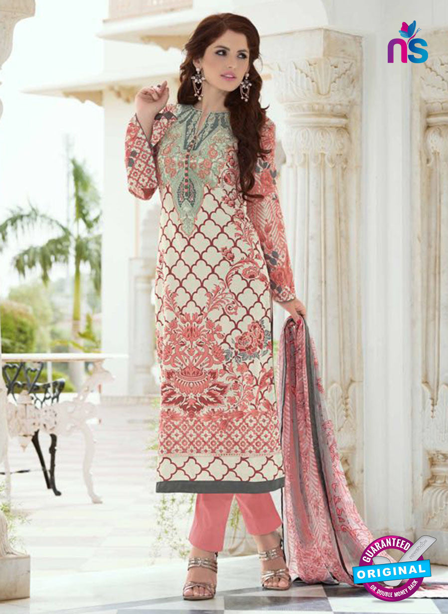 SC 13392 Peach and Multicolor Embroiderd Lawn Cotton Designer  Suit