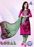 NS11176 Deep Magenta and Black Party Wear Cotton Satin Jacquard Straight Suit
