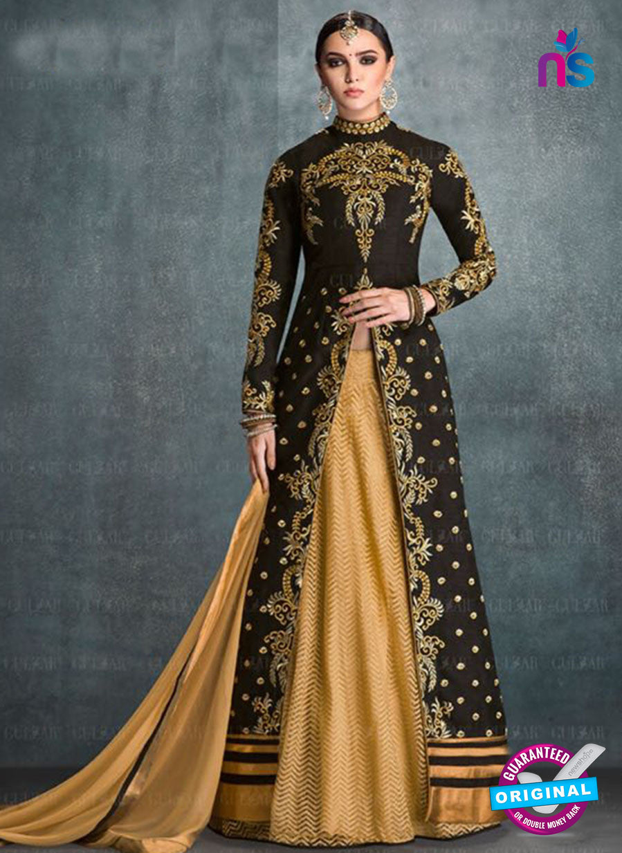 AZ 2225 Black and Beige Embroidered Banglori Silk Indo Western Suit