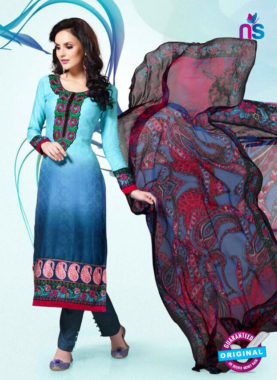 NS11177 Multicolor and Dark Blue Party Wear Cotton Satin Jacquard Straight Suit