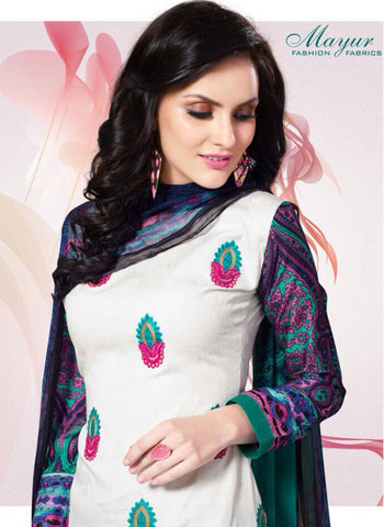 ayur 1605 White & Green Color Cotton Designer Suit Online