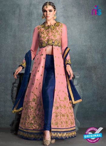 AZ 2226 Pink and Blue Embroidered Banglori Silk Indo Western Suit