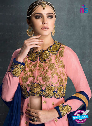 AZ 2226 Pink and Blue Embroidered Banglori Silk Indo Western Suit - Salwar Suits - NEW SHOP