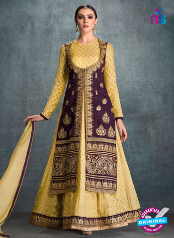 AZ 2227 Yellow and Purple Embroidered Banglori Silk Indo Western Suit