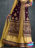 AZ 2227 Yellow and Purple Embroidered Banglori Silk Indo Western Suit - Salwar Suits - NEW SHOP