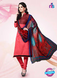 NS11179 Light Red and Black Party Wear Cotton Satin Jacquard Straight Suit