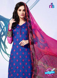 NS11180 Blue and Red Party Wear Cotton Satin Jacquard Straight Suit Online