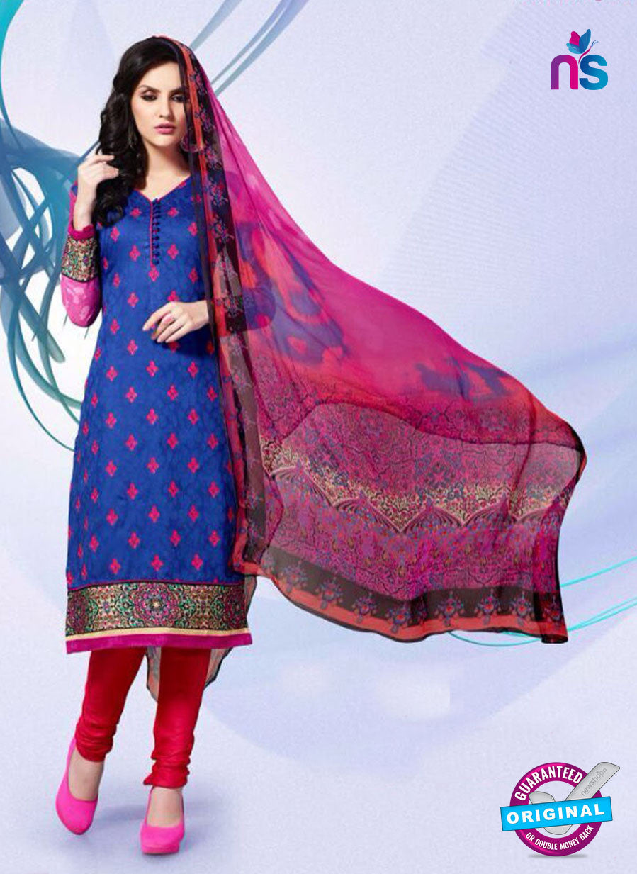 NS11180 Blue and Red Party Wear Cotton Satin Jacquard Straight Suit