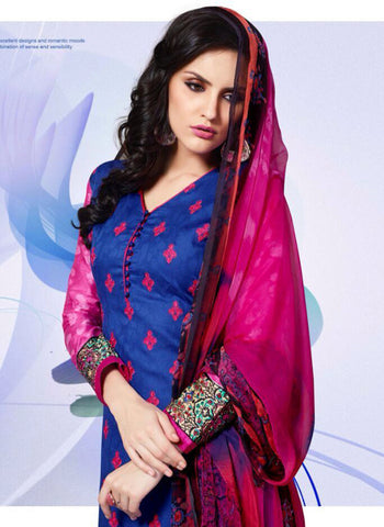 Mayur 1607 Blue & Red Color Cotton Designer Suit Online