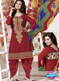 NS10161  Red Color Cotton Patiala Designer Suit