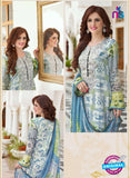 SC 13398 Multicolor and Sky Blue Embroiderd Lawn CottonDesigner  Suit