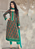 Rivaa 16101B Green & Brown Color Glace cotton Designer Suit