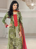Rivaa 16104A Red & Green Color Glace cotton Designer Suit