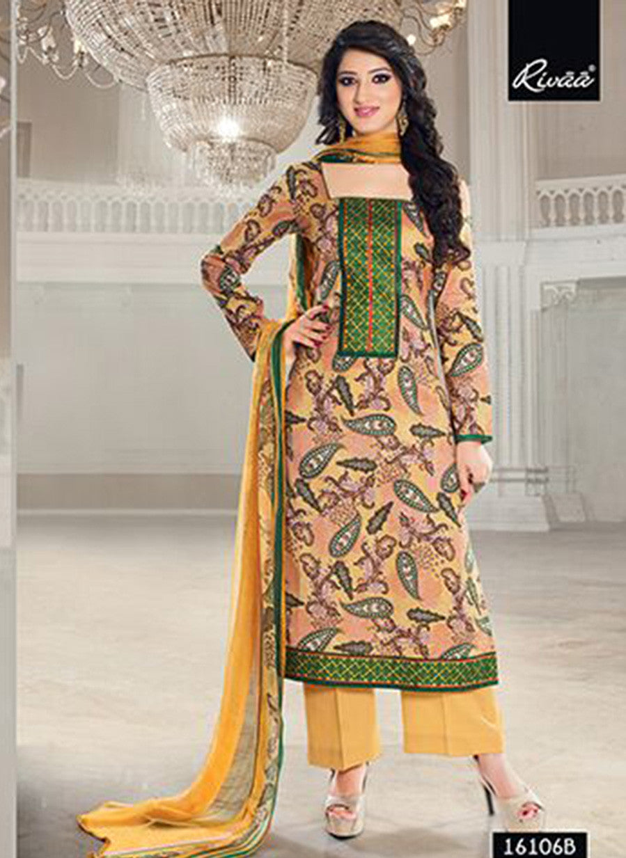 Rivaa 16106B Yellow Color Glace cotton Designer Suit