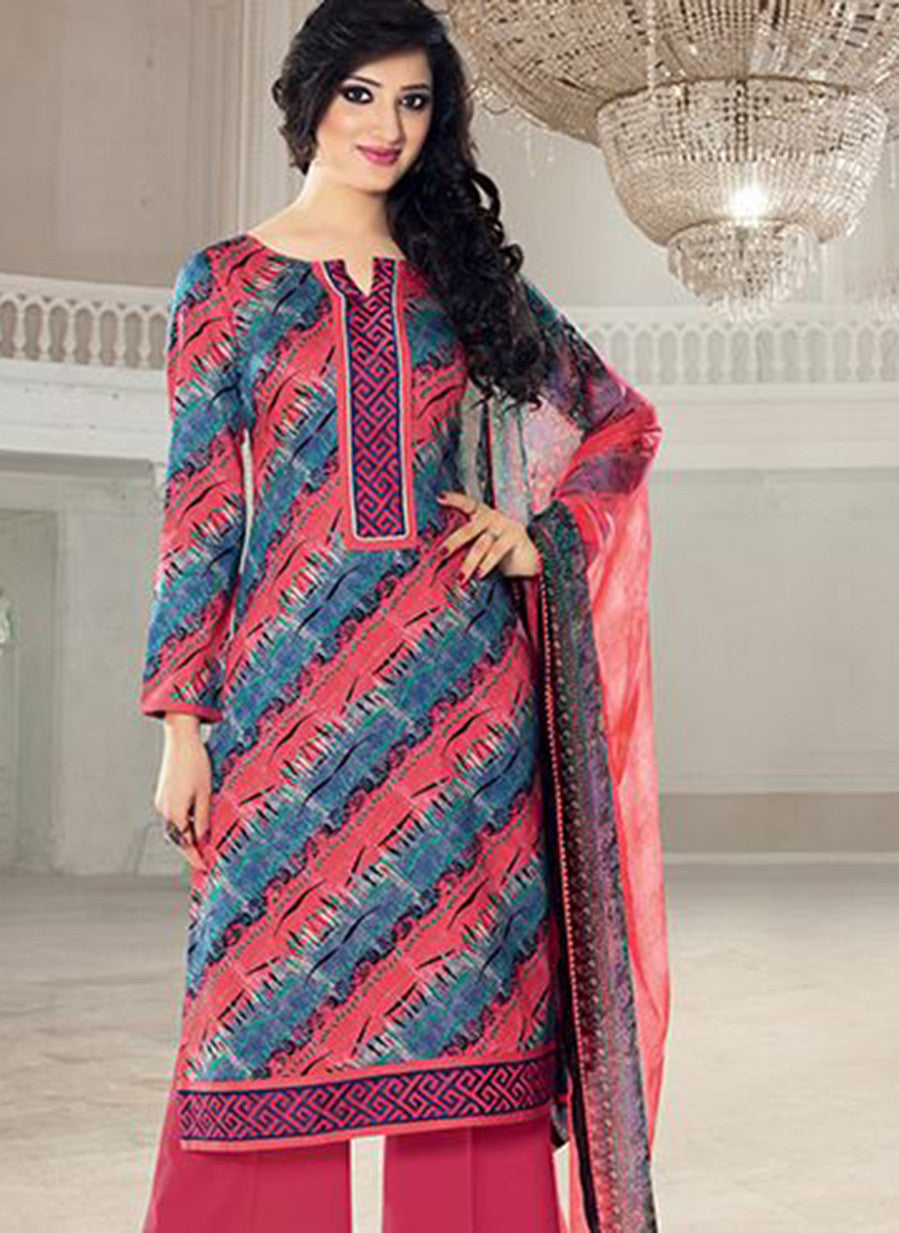 Rivaa 16107A Peach & Blue Color Glace cotton Designer Suit