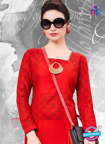 RT 16137 Red Cotton Kurti