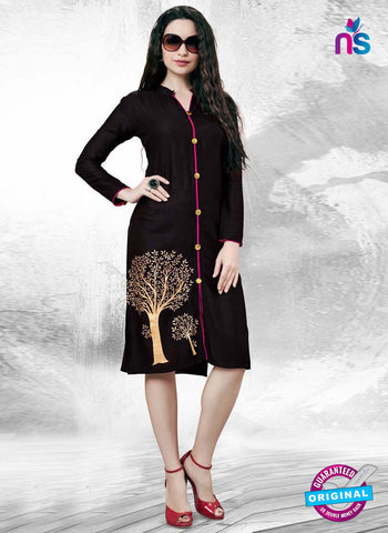 RT 16139 Black Cotton Kurti