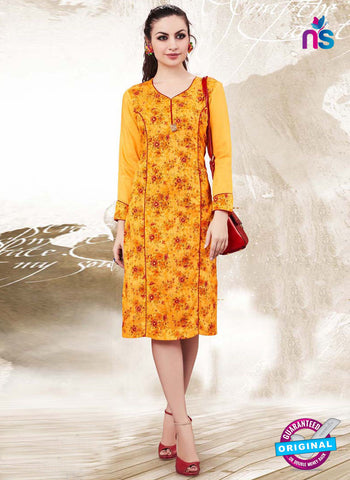 RT 16140 Yellow Cotton Kurti