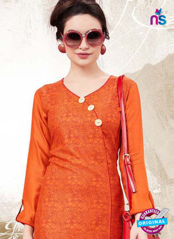 RT 16145 Orange Cotton Kurti